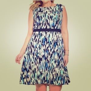 London Times A-line sleeveless patterned dress
